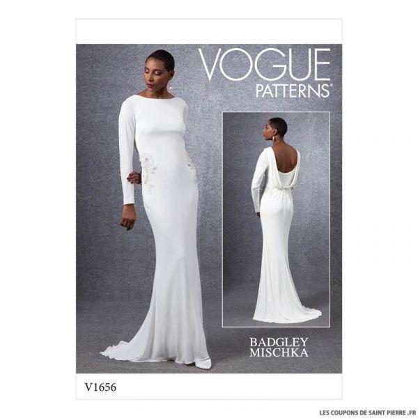 Patron Vogue V1656 : Robe de soirée drapée