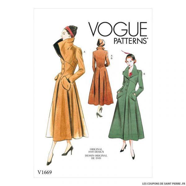 Patron Vogue V1669 : Manteau long