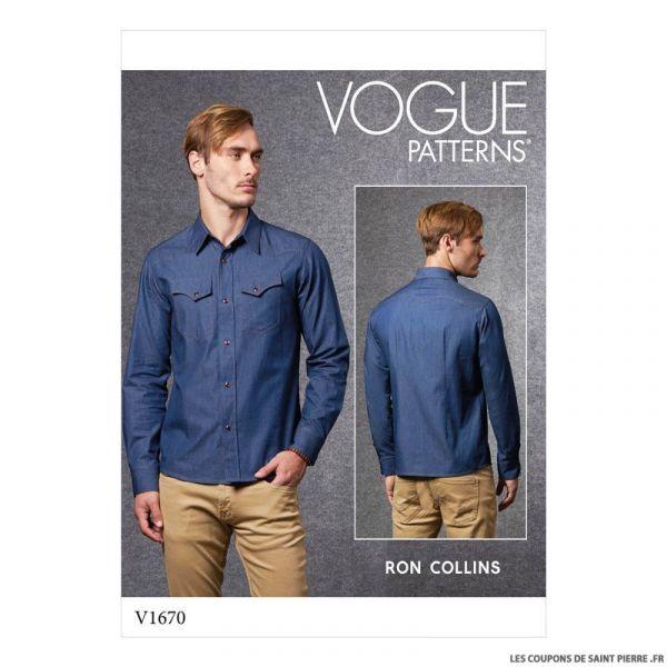 Patron Vogue V1670 : Chemise homme