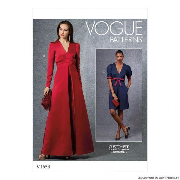 Patron Vogue V1654 : Robe de soirée croisée