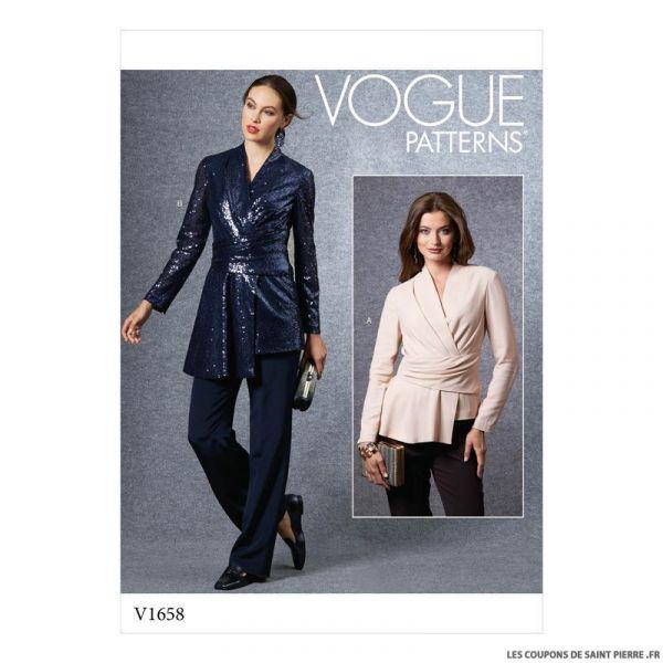 Patron Vogue V1658 : Haut ceinturé
