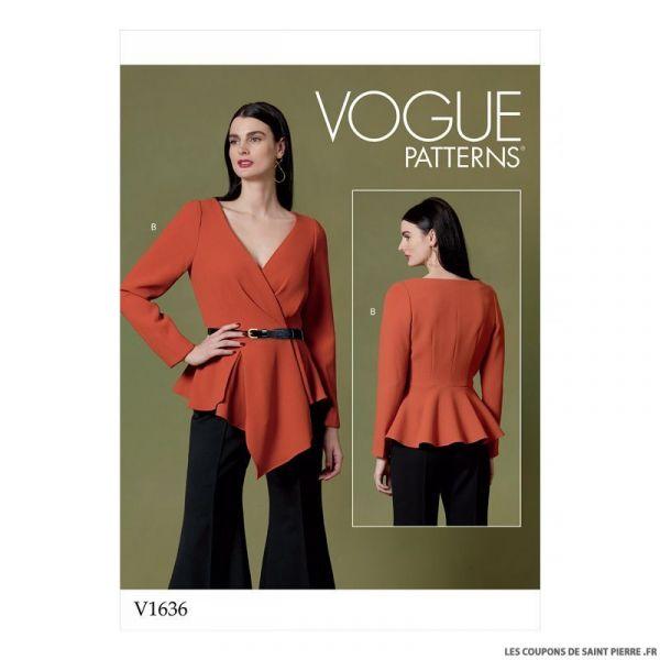 Patron Vogue V1636 : Haut croisé