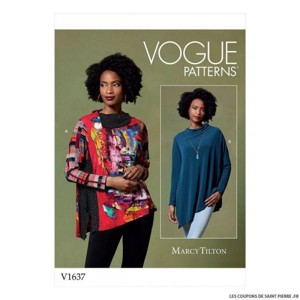 Patron Vogue V1637 : Haut ample asymétrique