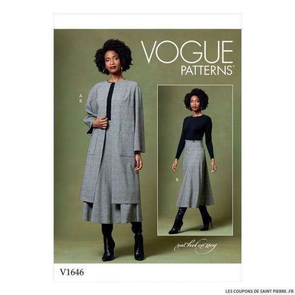Patron Vogue V1646 : Manteau et jupe longue