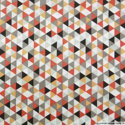 Coton imprimé triangle orange et blanc