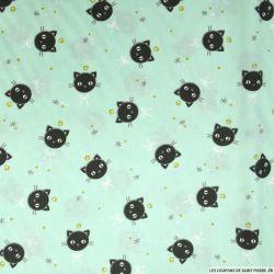 Coton imprimé chat fond vert amande