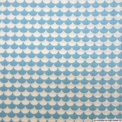 Coton imprimé vague fond bleu ciel et blanc