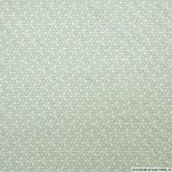 Coton imprimé trèfles fond vert amande