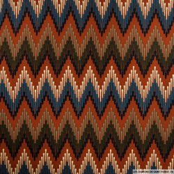 Microfibre imprimée zigzag fond camel