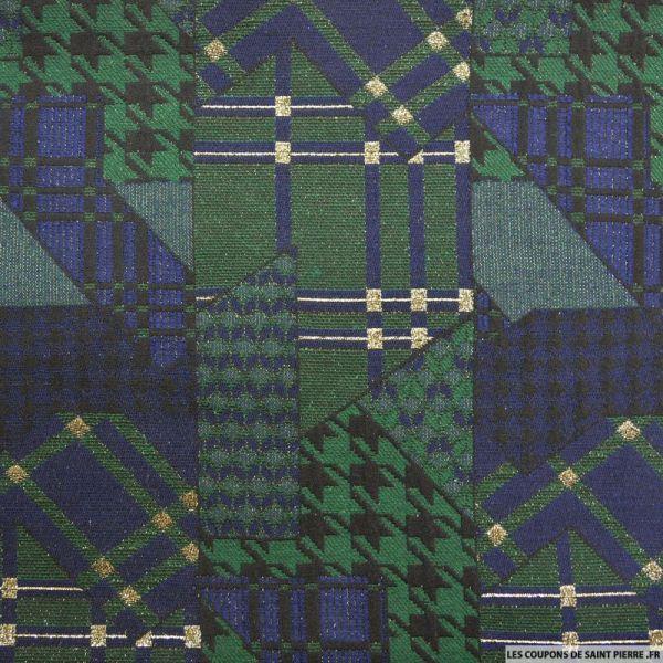 Jacquard polyester pied de coq graphique bleu et vert fils dorés