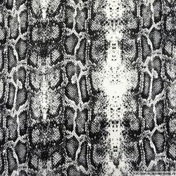 Satin de coton imprimé serpent noir et blanc