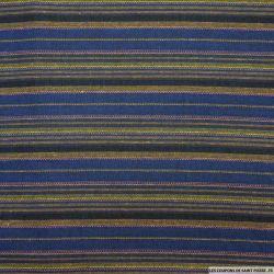 Jacquard polycoton rayures fines fond indigo