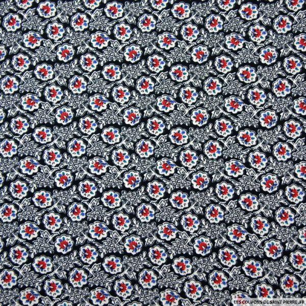 Microfibre imprimée fleurs folk fond noir