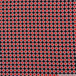 Microfibre imprimée diagonale carrés rouge fond noir