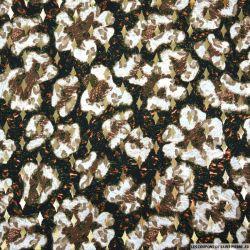 Microfibre imprimée tâches sauvage fond noir losanges dorées