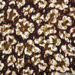 Microfibre imprimée tâches sauvage fond aubergine losanges dorées