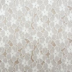 Dentelle polyester marguerite blanc