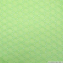 Broderie anglaise cercles vert pistache