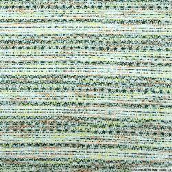 Tweed polyviscose rayures multicolore et vert sapin