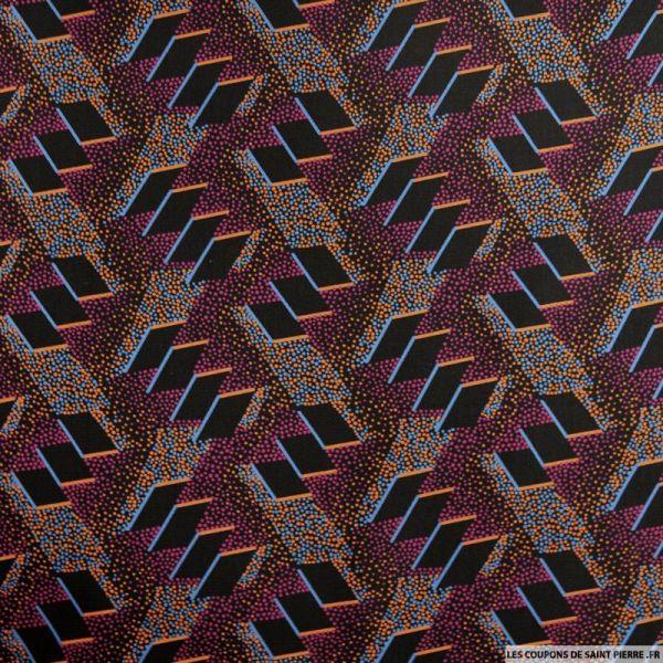 Microfibre imprimée trio graphique violet et noir