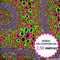 Wax africain bubble fuchsia, vendu en coupon de 2,50 mètres