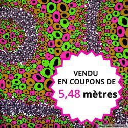 Wax africain bubble fuchsia, vendu en coupon de 5,48 mètres