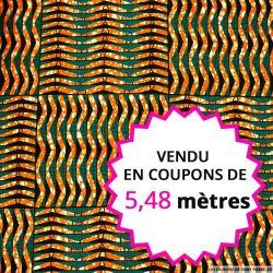 Wax africain grille orange et canard, vendu en coupon de 5,48 mètres