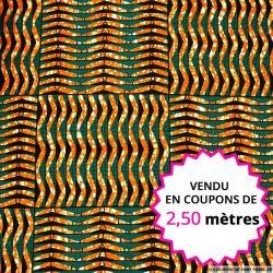 Wax africain grille orange et canard, vendu en coupon de 2,50 mètres