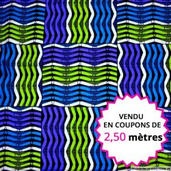 Wax africain grille turquoise et vert, vendu en coupon de 2,50 mètres