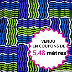Wax africain grille turquoise et vert, vendu en coupon de 5,48 mètres