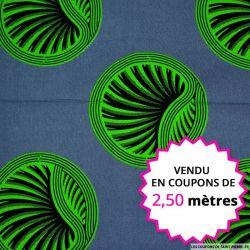 Wax africain médaillon vert, vendu en coupon de 2,50 mètres