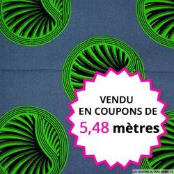 Wax africain médaillon vert, vendu en coupon de 5,48 mètres