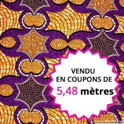 Wax africain étoile orange et violet, vendu en coupon de 5,48 mètres