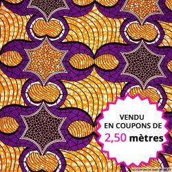 Wax africain étoile orange et violet, vendu en coupon de 2,50 mètres