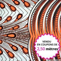 Wax africain plumes de paon corail, vendu en coupon de 2,50 mètres