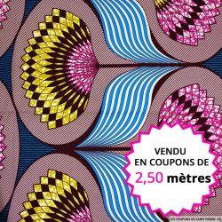 Wax africain éventail fuchsia fond turquoise, vendu en coupon de 2,50 mètres