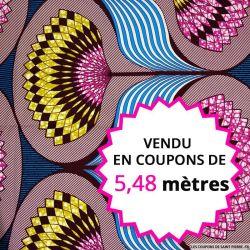 Wax africain éventail fuchsia fond turquoise, vendu en coupon de 5,48 mètres