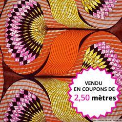 Wax africain éventail ocre fond orange, vendu en coupon de 2,50 mètres