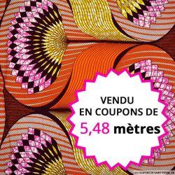 Wax africain éventail ocre fond orange, vendu en coupon de 5,48 mètres