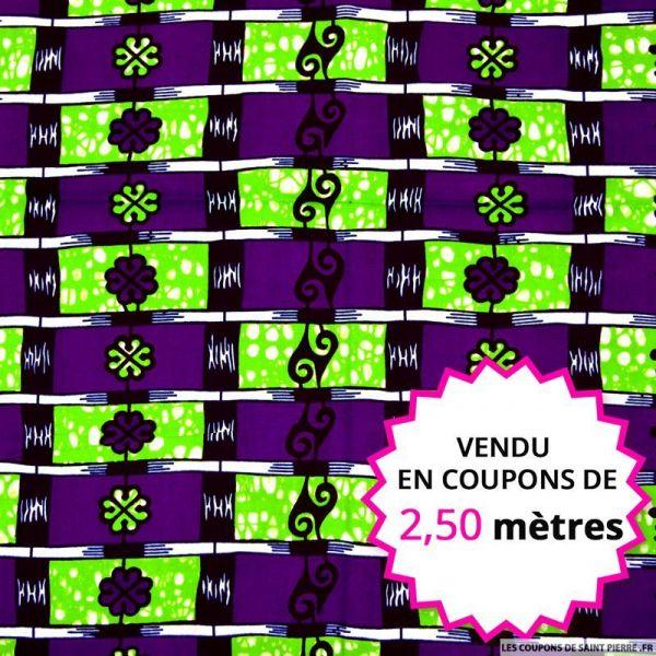 Wax africain échelle violet et vert, vendu en coupon de 2,50 mètres