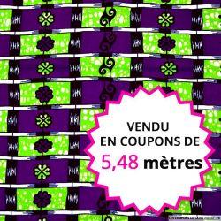 Wax africain échelle violet et vert, vendu en coupon de 5,48 mètres