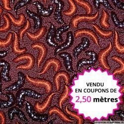 Wax africain plumeau corail fond bordeaux, vendu en coupon de 2,50 mètres