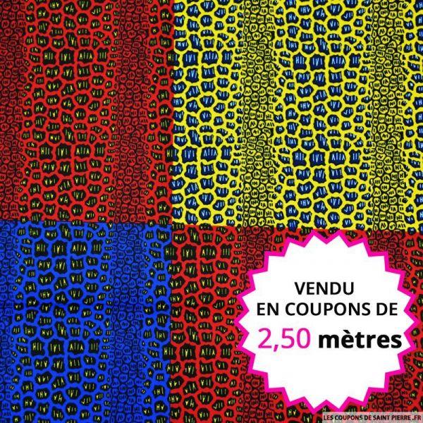 Wax africain léopard tricolore, vendu en coupon de 2,50 mètres