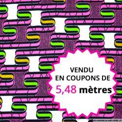 Wax africain graphique 70's fuchsia, vendu en coupon de 5,48 mètres
