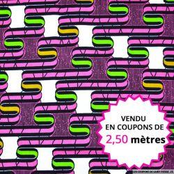 Wax africain graphique 70's fuchsia, vendu en coupon de 2,50 mètres