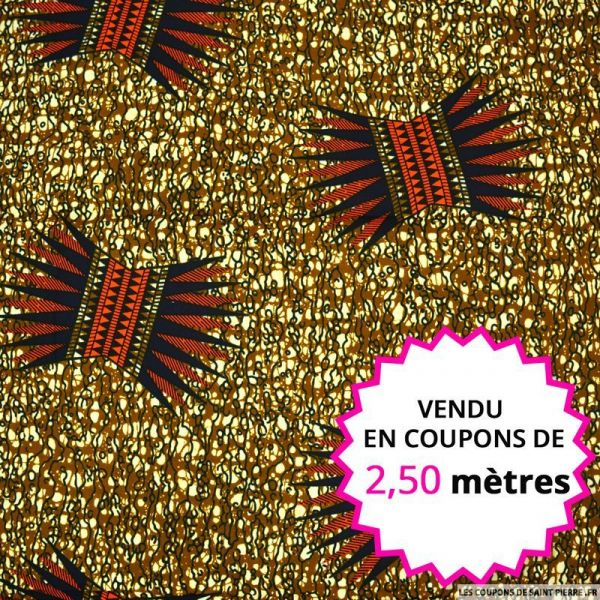 Wax africain couronne fond caramel, vendu en coupon de 2,50 mètres