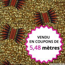 Wax africain couronne fond caramel, vendu en coupon de 5,48 mètres