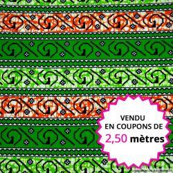 Wax africain point de croix vert et orange, vendu en coupon de 2,50 mètres