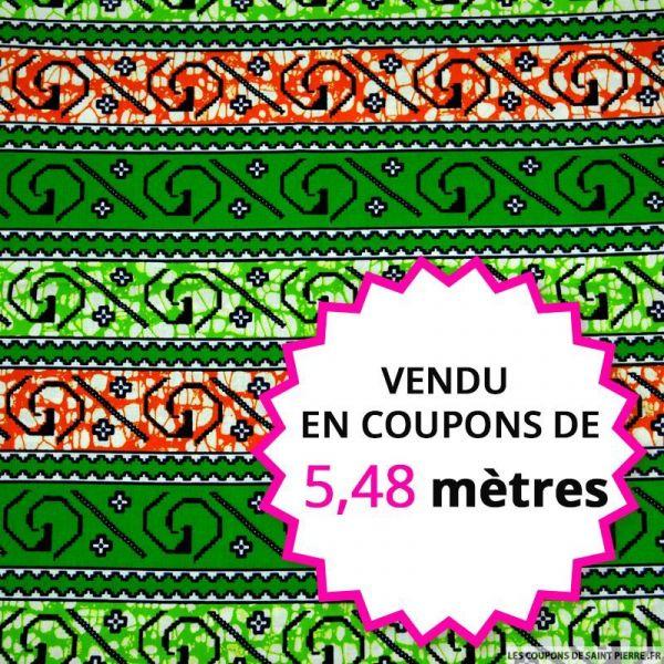Wax africain point de croix vert et orange, vendu en coupon de 5,48 mètres