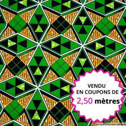 Wax africain diamants vert, vendu en coupon de 2,50 mètres